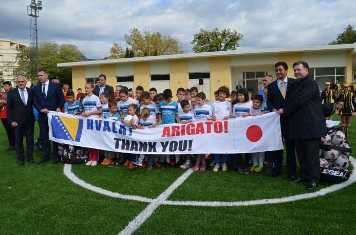 "Photo of ""Ambassador The handover ceremony of ""the Project for Rehabilitation of Sports Center in Mostar for Community Reconciliation through Sports Activities"""""